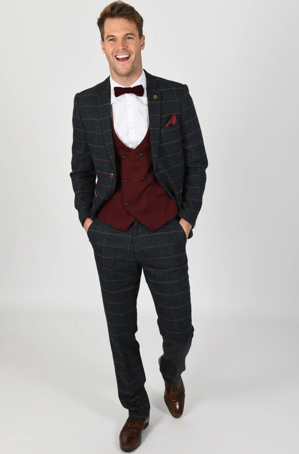 Eton Tweed Check Suit With Kelly Wine Double Breasted Waistcoat | Mens Tweed Suits - Mens Tweed Suits