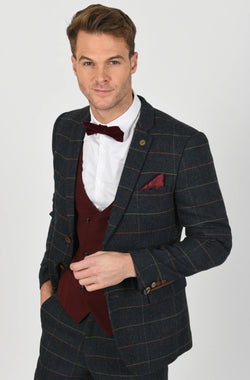 Eton Tweed Check Suit With Kelly Wine Double Breasted Waistcoat | Mens Tweed Suits