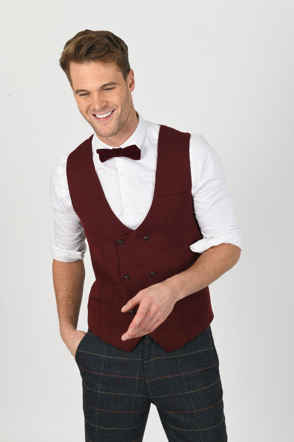 KELLY WINE DOUBLE BREASTED WAISTCOAT | MENS TWEED SUITS