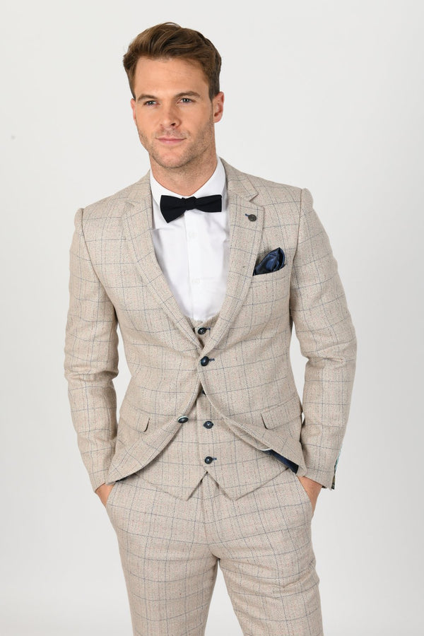 Harding Beige Check Tweed Blazer | Marc Darcy - Mens Tweed Suits