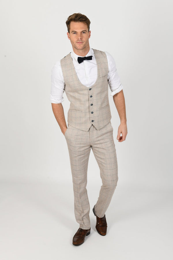 Harding Cream Tweed Waistcoat by Marc Darcy | Mens Tweed Suits