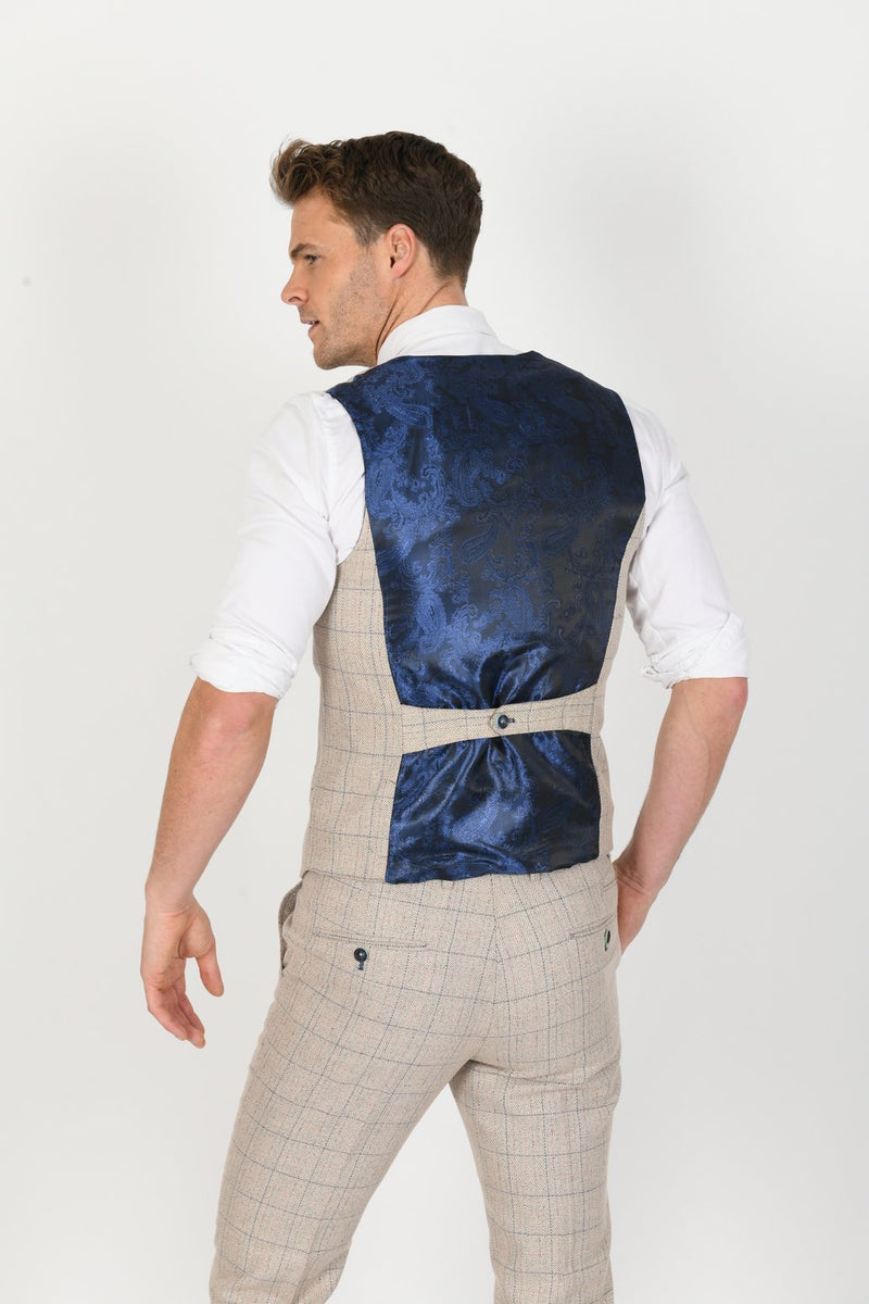 Harding Single Breasted Cream Tweed Waistcoat | Marc Darcy