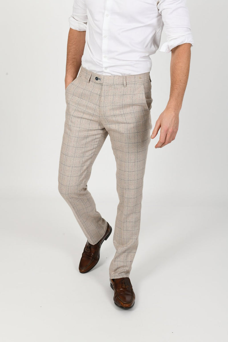 Harding Beige Check Tweed Trousers | Marc Darcy - Mens Tweed Suits