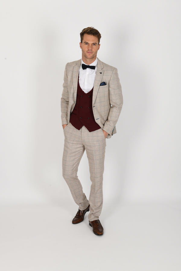 Harding Suit With Kelly Wine Waistcoat | Marc Darcy