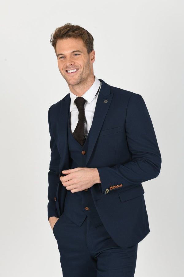 Max Royal Blue Blazer with Contrast Buttons | Marc Darcy - Mens Tweed Suits