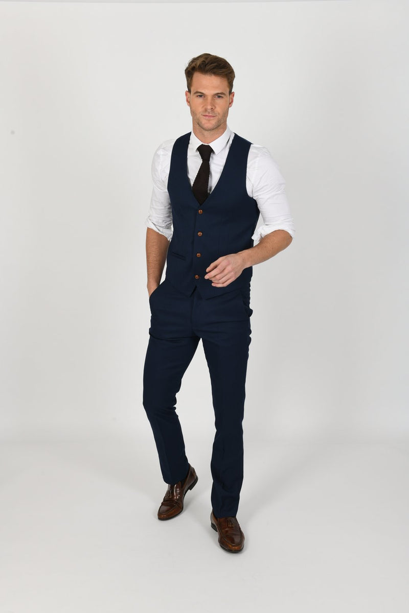 Max Royal Blue Wedding Waistcoat | Marc Darcy - Mens Tweed Suits