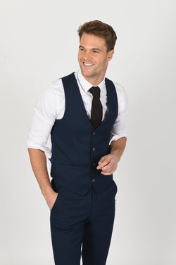 Max Royal Blue Wedding Waistcoat | Marc Darcy
