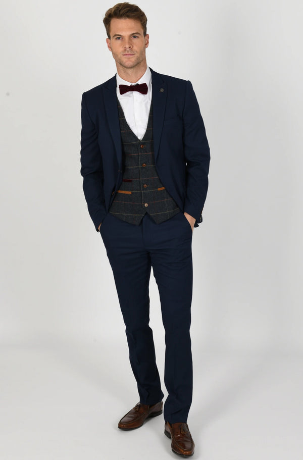 Max Royal Blue Suit with Eton Waistcoat | Menstweedsuits - Mens Tweed Suits