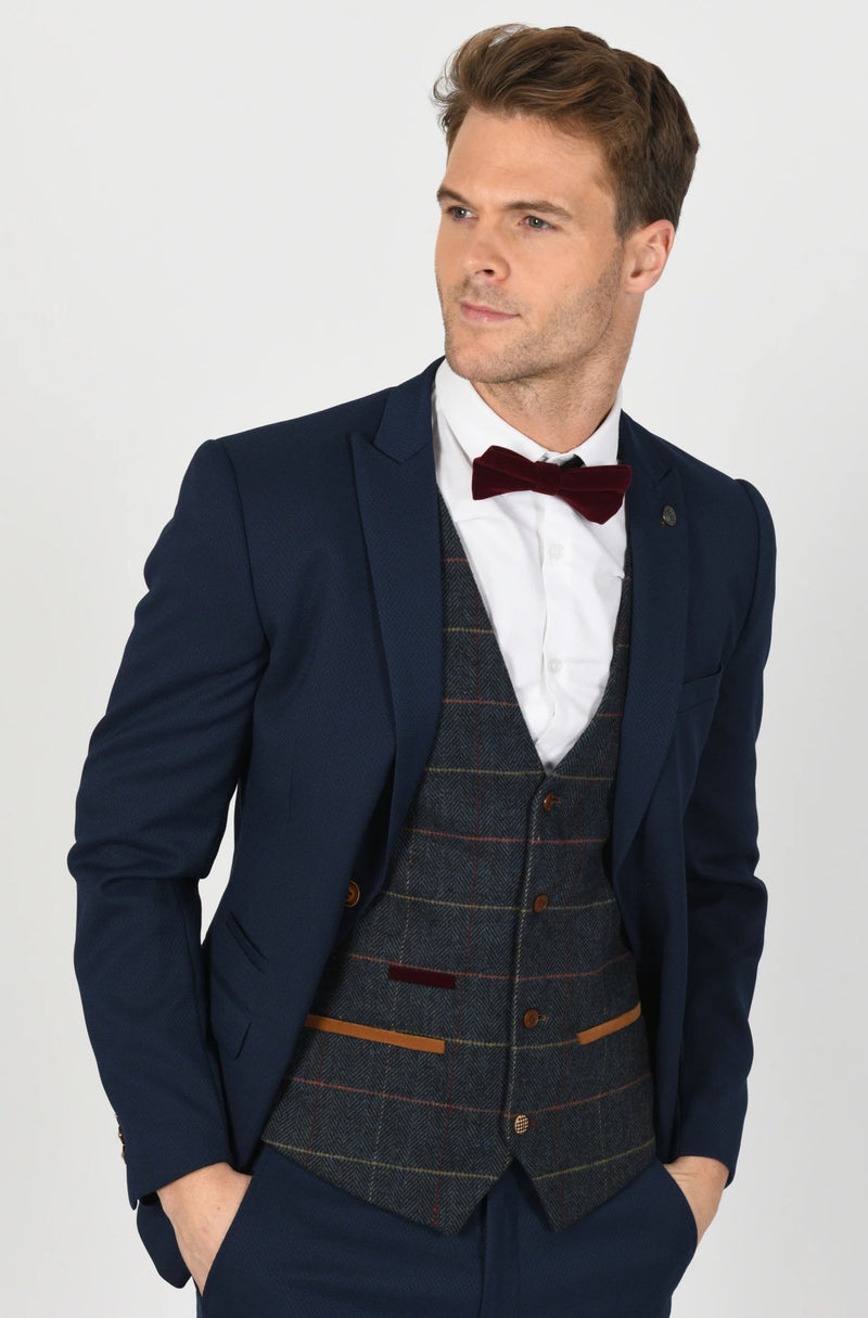 Max Royal Blue Suit with Eton Waistcoat | Menstweedsuits