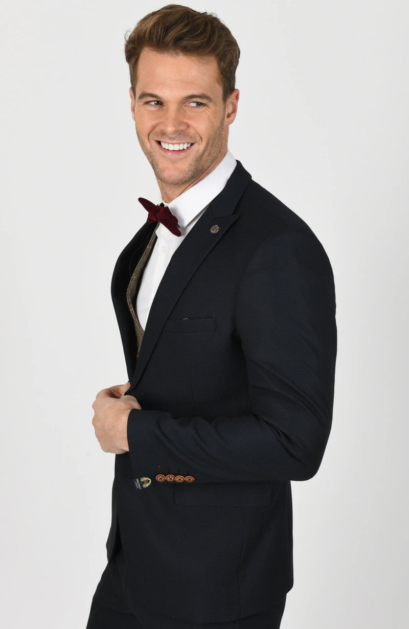Max Navy Suit With Ted Tan Double Breasted Waistcoat - Mens Tweed Suits