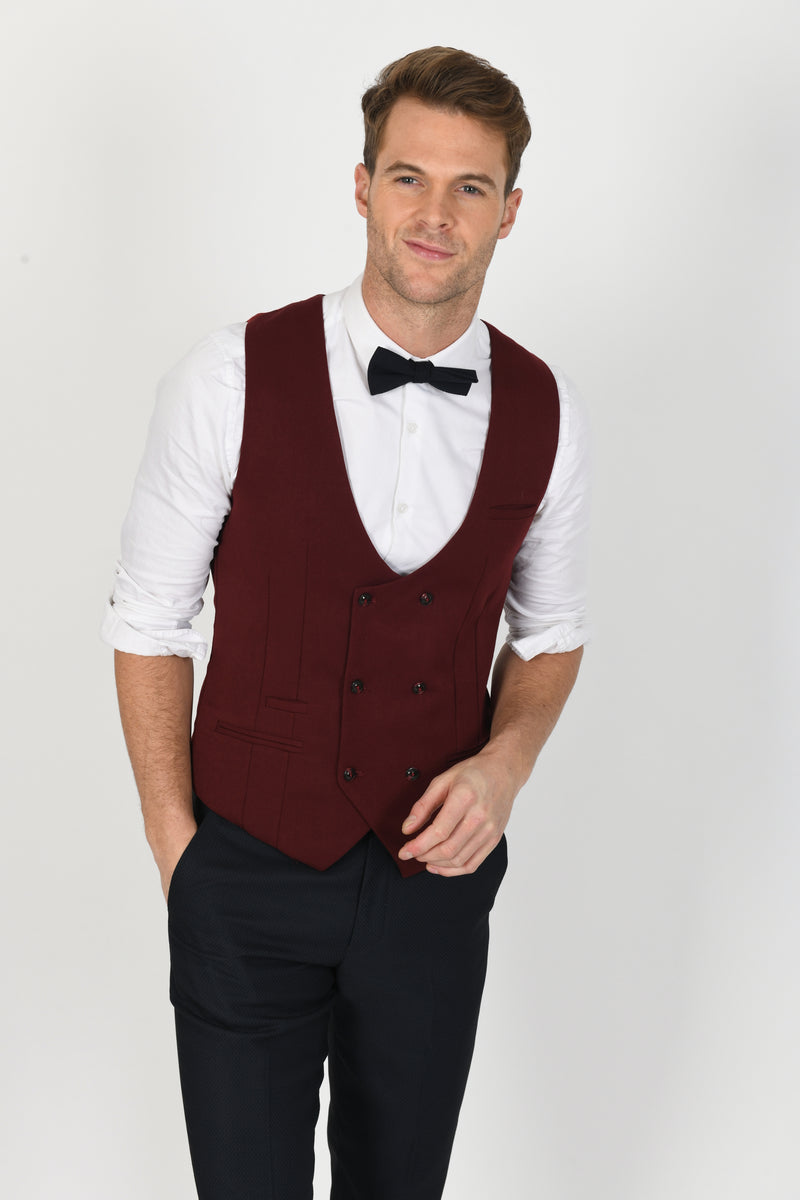 Max Navy Suit With Kelly Wine Double Breasted Waistcoat | Menstweedsuits.com