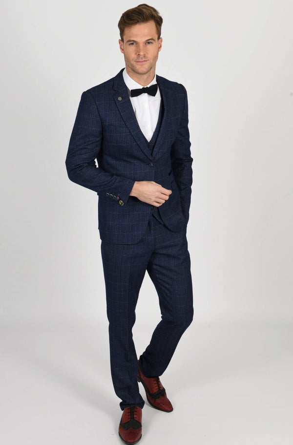 Harry Indigo Check Tweed Wedding Suit - Mens Tweed Suits