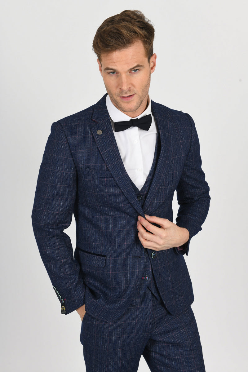 Harry Indigo Check Tweed Peaky Blinder Suit - Mens Tweed Suits