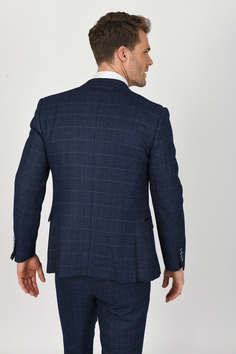 Harry Indigo Tweed Check Suit | Marc Darcy