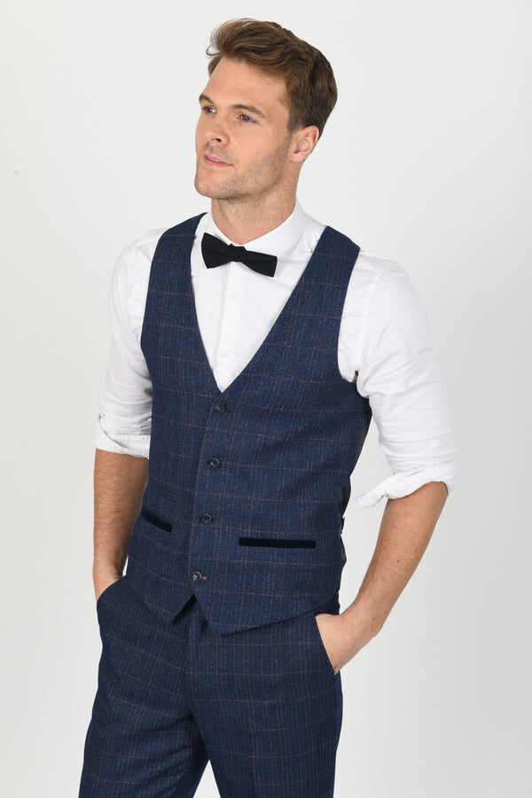 Harry Indigo Tweed Check Waistcoat | Marc Darcy - Mens Tweed Suits