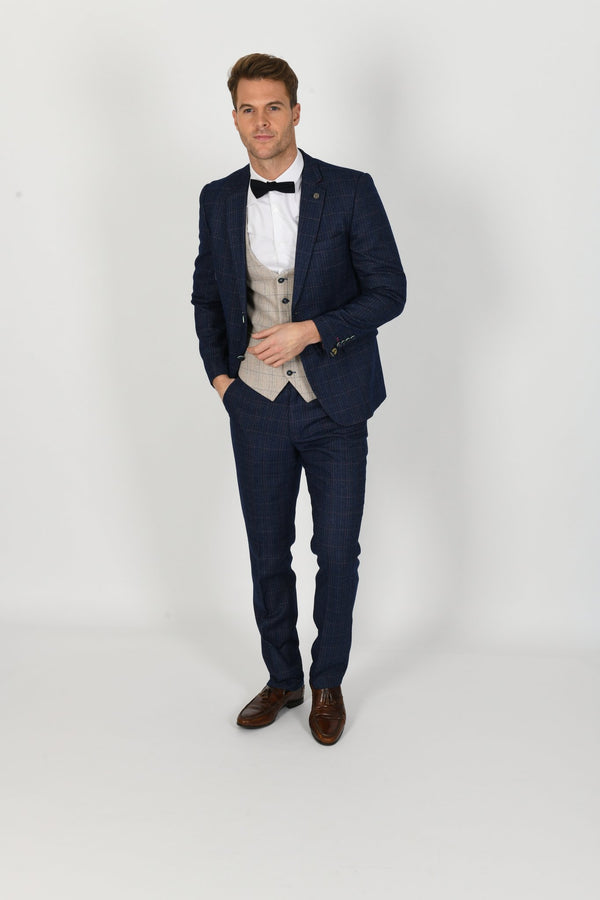 HARRY INDIGO SUIT WITH HARDING WAISTCOAT | MENS TWEED SUITS