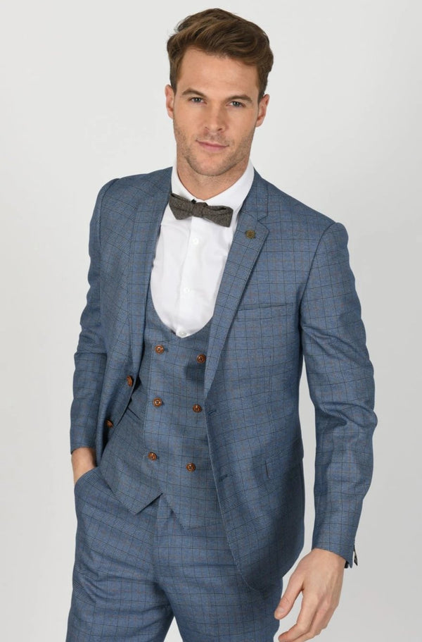 George Light Blue Check Three Piece Suit | Marc Darcy  | Mens Tweed Suits