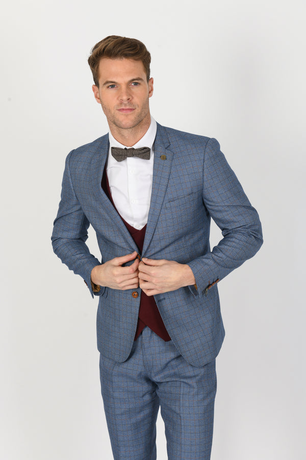 Matthew Tweed Suit With Kelly Wine Double-Breasted Waistcoat - Mens Tweed Suits