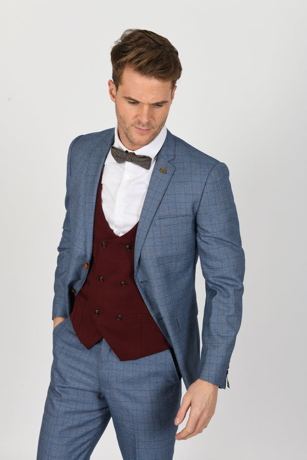 Matthew Tweed Suit With Kelly Wine Double-Breasted Waistcoat | Mens Tweed Suits