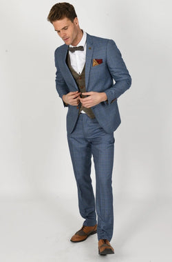 GEORGE LIGHT BLUE SUIT WITH TED TAN WAISTCOAT | MENS TWEED SUITS - Mens Tweed Suits