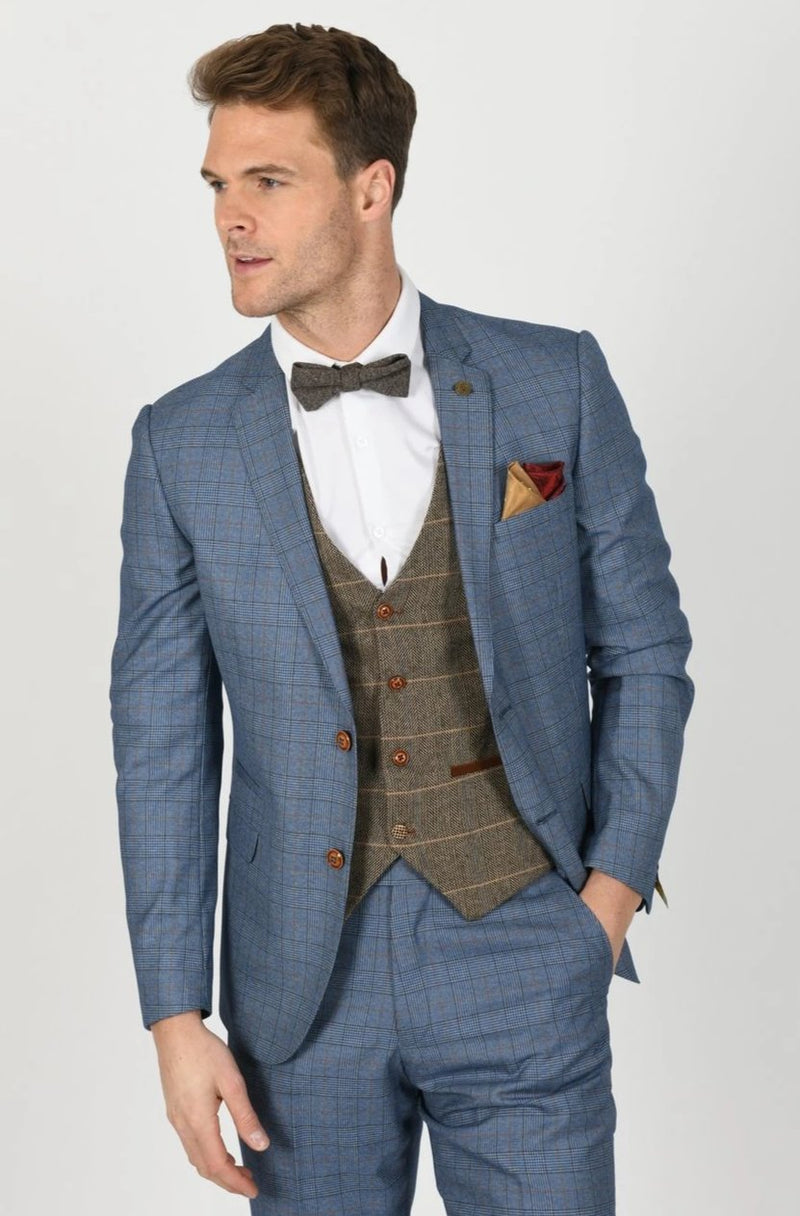 GEORGE LIGHT BLUE SUIT WITH TED TAN WAISTCOAT | MENS TWEED SUITS