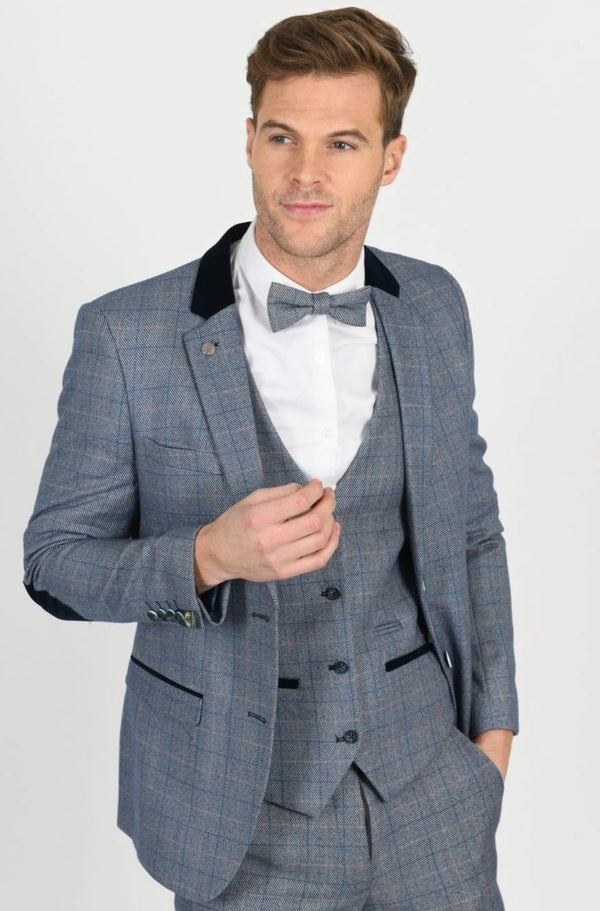 Harry Blue Check Tweed Peaky Blinder Suit - Mens Tweed Suits