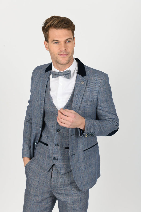 Hilton Blue Velvet Trim Tweed Check Blazer | Marc Darcy - Mens Tweed Suits