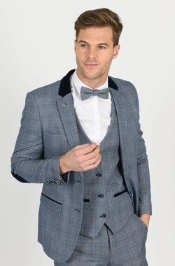 Blue Check Tweed Wedding Suit | Mens Tweed Suits | Marc Darcy Menswear | Marc Darcy Harry Blue