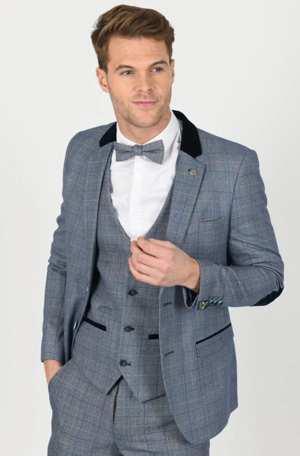 Harry Blue Tweed Check Blazer | Marc Darcy - Mens Tweed Suits