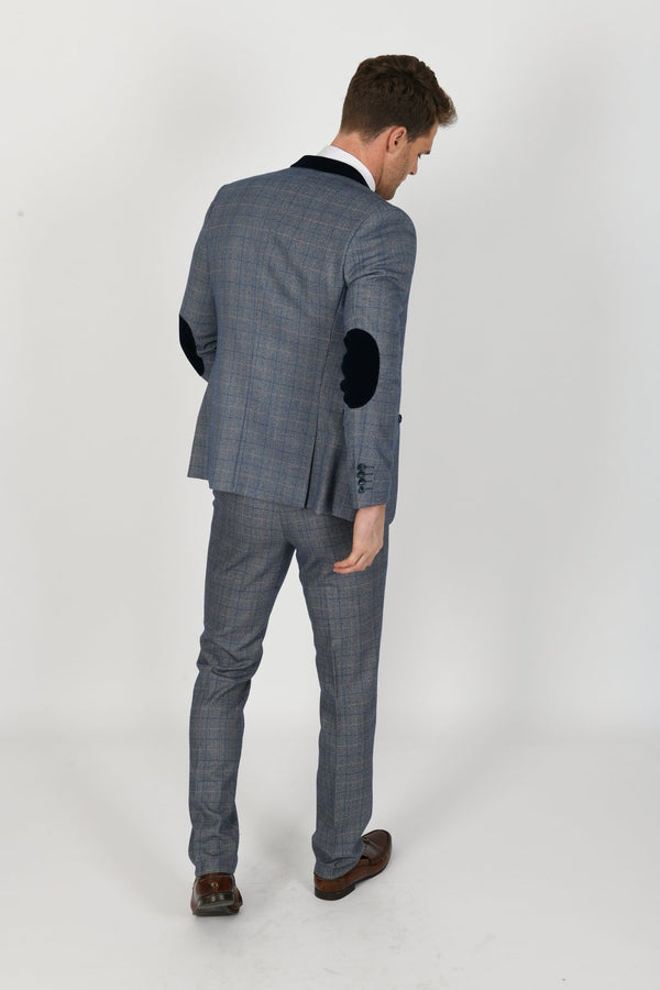 Hilton Blue Velvet Trim Tweed Check Blazer | Mens Tweed Suits