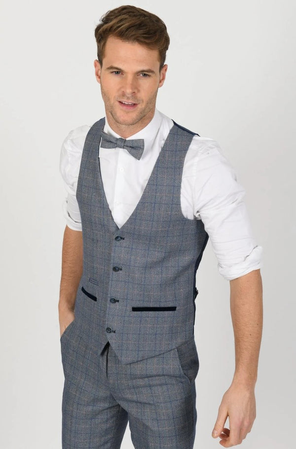 Harry Blue Check Tweed Wedding Suit - Mens Tweed Suits
