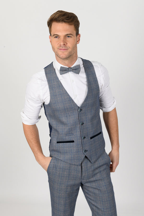 Hilton Blue Tweed Check Waistcoat | Marc Darcy - Mens Tweed Suits