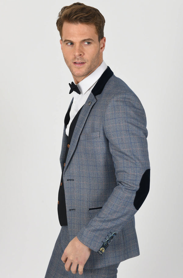 Harry Blue Tweed Check Suits | Marc Darcy - Mens Tweed Suits