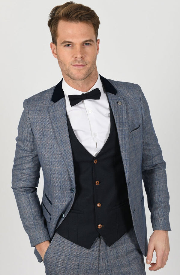 Blue Tweed Suit with Royal Blue Waistcoat