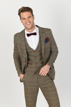 Ted Tan Brown Check Peaky Blinder Tweed Suit - Mens Tweed Suits
