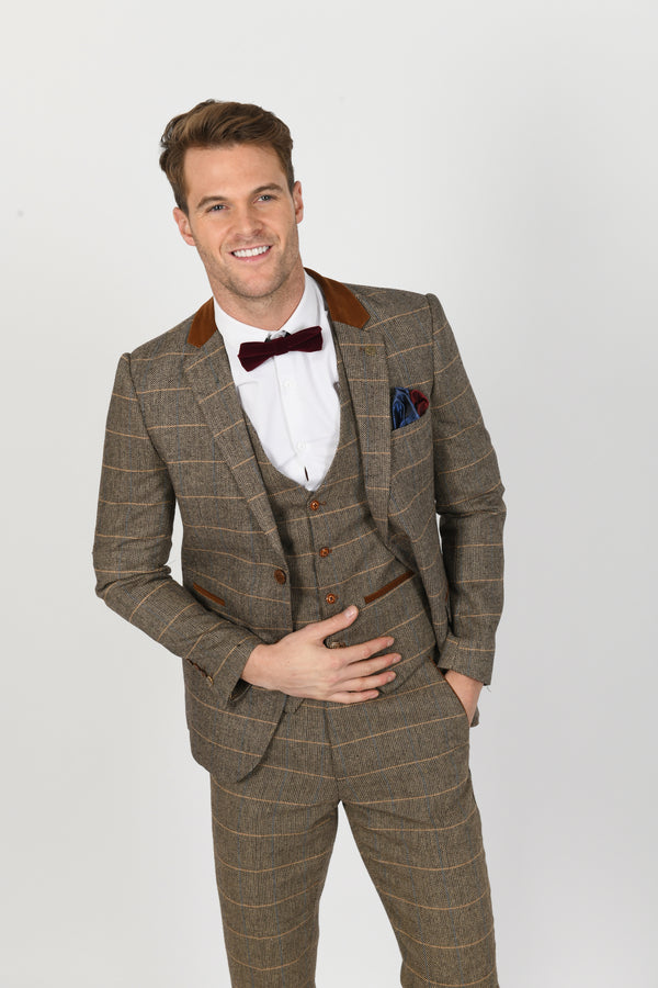 DX7 Tan Heritage Tweed Check Blazer - Mens Tweed Suits