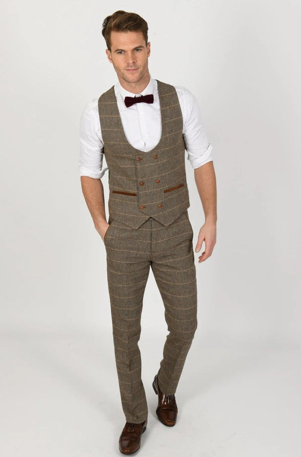 Ted  Tan Tweed Check Double Breasted Waistcoat | Marc Darcy