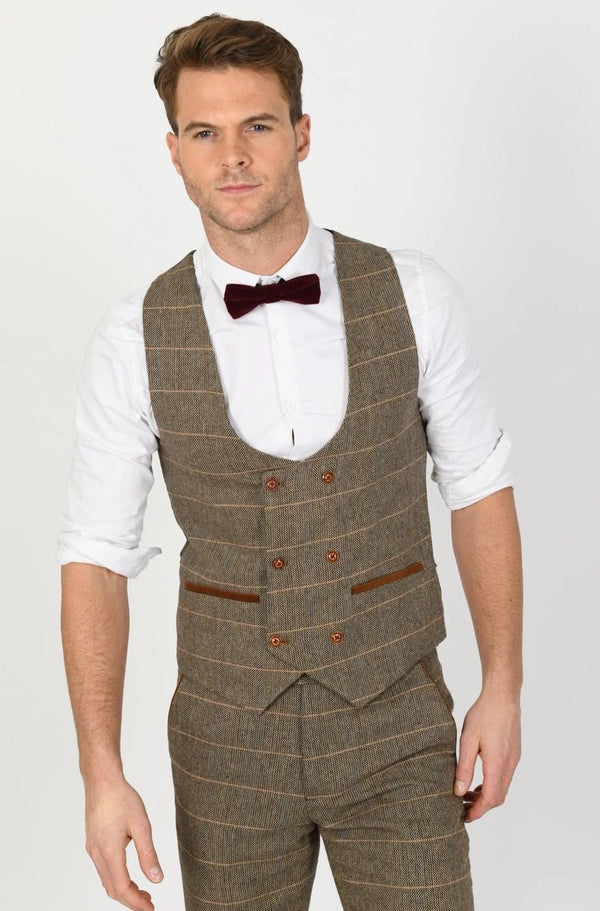 Ted  Tan Tweed Check Double Breasted Waistcoat | Marc Darcy - Mens Tweed Suits