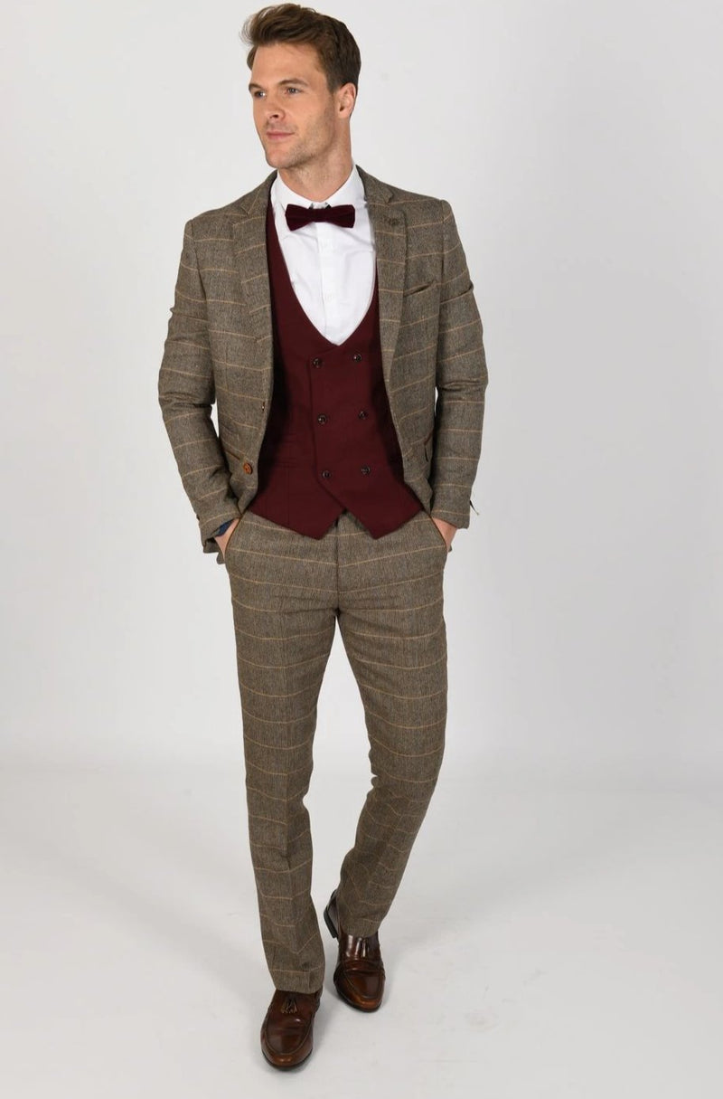 TED TAN TWEED CHECK SUIT WITH KELLY WINE DOUBLE BREASTED WAISTCOAT | MENS TWEED SUITS