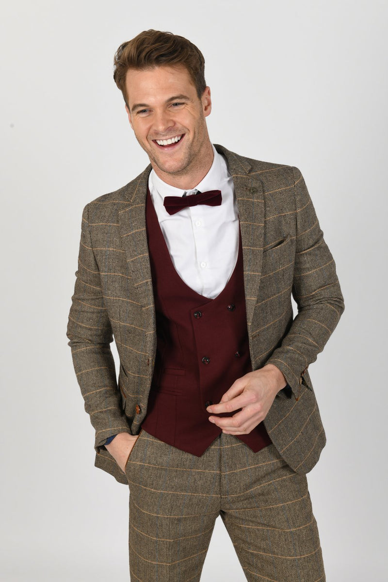 Ted Tan Tweed Check Suit With Kelly Wine Double Breasted Waistcoat