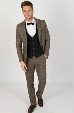 TED TAN SUIT WITH MAX NAVY WAISTCOAT | MENS TWEED SUITS