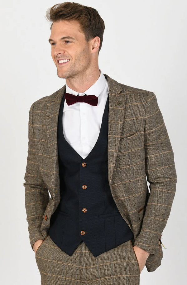 TED TAN SUIT WITH MAX NAVY WAISTCOAT | MENS TWEED SUITS - Mens Tweed Suits