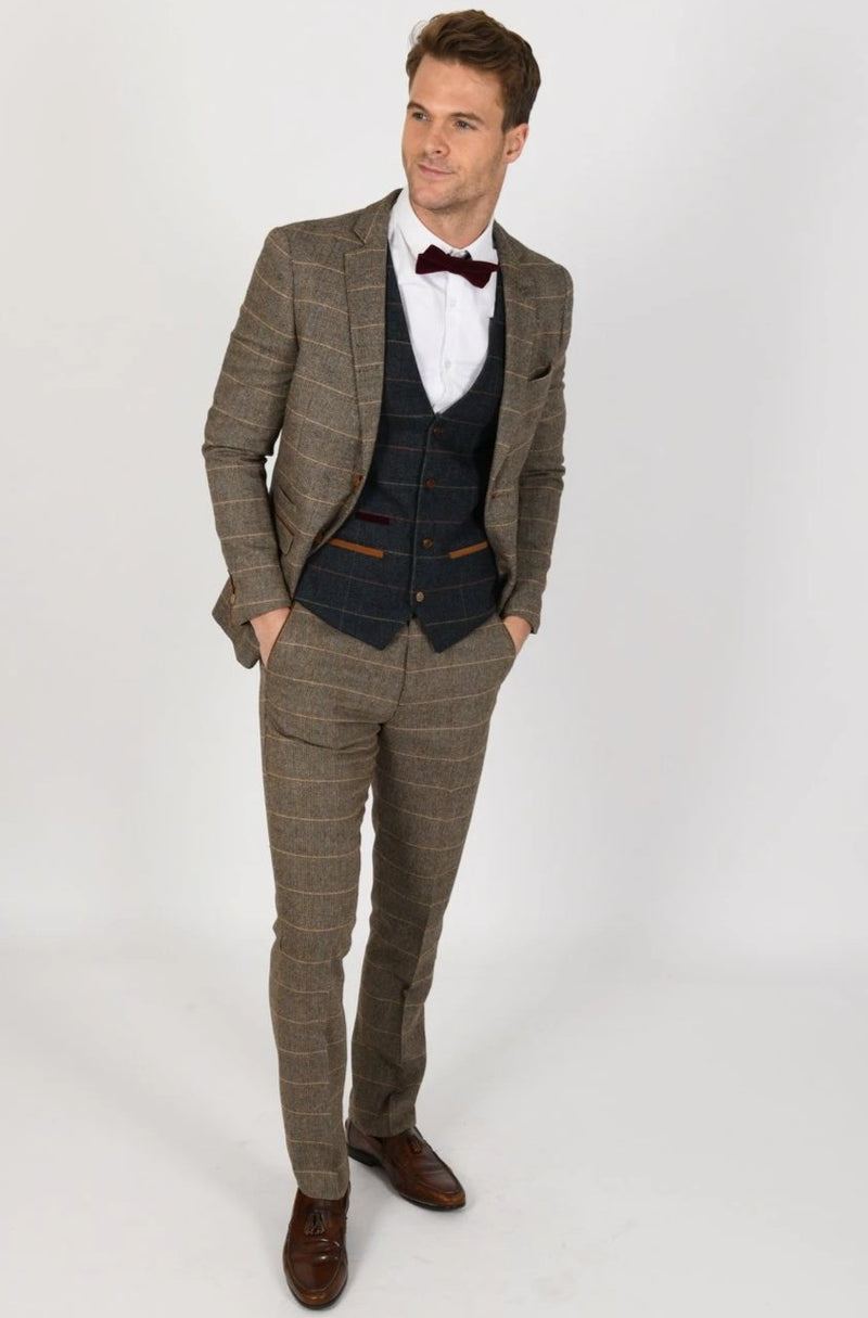 TED TAN SUIT WITH ETON WAISTCOAT | MENS TWEED SUITS