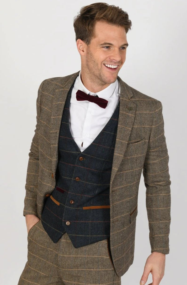 TED TAN SUIT WITH ETON WAISTCOAT | MENS TWEED SUITS - Mens Tweed Suits