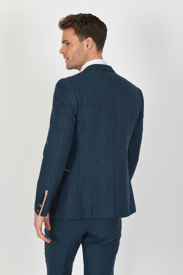Dion Blue Tweed Wedding Suit