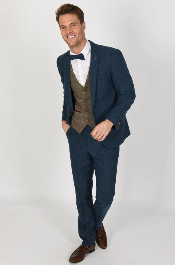 DION BLUE TWEED SUIT WITH TED TAN TWEED WAISTCOAT | MENS TWEED SUITS - Mens Tweed Suits