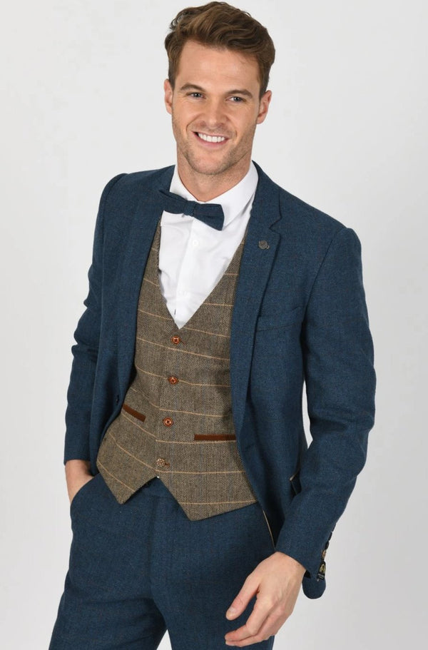 DION SUIT WITH TED TAN WAISTCOAT | MENS TWEED SUITS