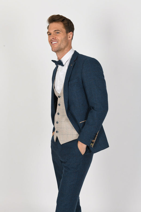 BLUE TWEED SUIT WITH HARDING WAISTCOAT | MENS TWEED SUITS