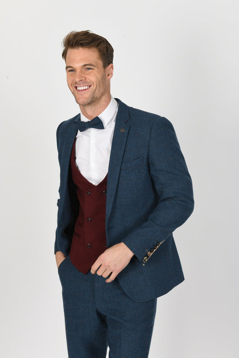 DION SUIT WITH KELLY WINE DOUBLE BREASTED WAISTCOAT | MENS TWEED SUITS