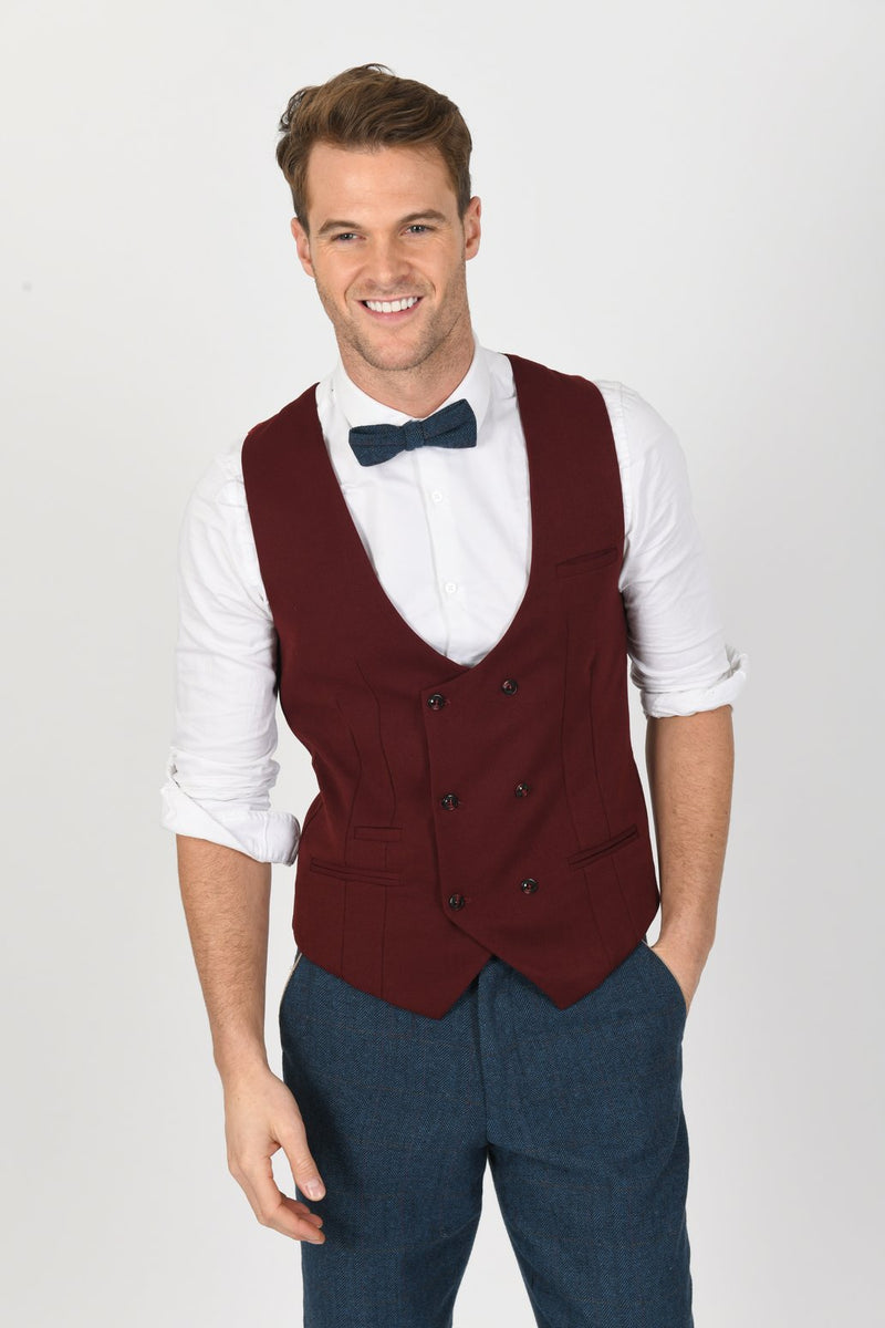 DION SUIT WITH KELLY WINE DOUBLE BREASTED WAISTCOAT | MENS TWEED SUITS - Mens Tweed Suits